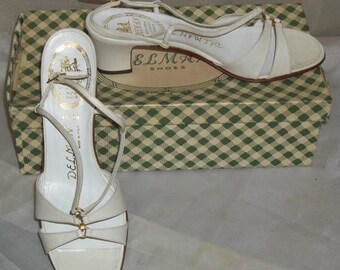 SUMMER SALE Deadstock Vintage 1960's Delman Italy Leather Slingback Sandals Strappy Shoes 7 M w/box