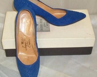 ON SALE Vintage 1950's Jacques Heim Paris Couturiere Leather Heels Shoes Pumps 6 1/2M w/Box