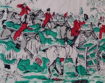 vintage silk scarf, Baar & Beards, equestrian scene, hunt, horses, riders, hounds dogs, ladies accessory