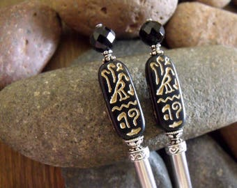 "Egyptian Inspired Cartouche Hairsticks with Black Onyx Accents and Sterling Silver on Steel ""The Mummy"""