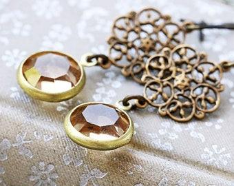 1920s Earrings | November Birthstone | Gatsby Earrings | Downton Abbey | Drop Earrings | Gift for Wife | Victorian Earrings | Yellow Topaz
