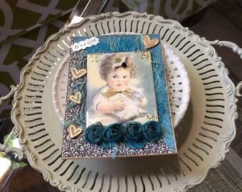New Baby Girl Card - Handmade Baby Girl Card - Vintage-style Baby Girl