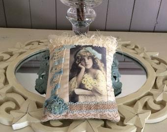 Vintage Girl Pillow - Light Blue Pastel Pillow - Novelty Pillow