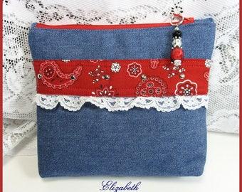 Small Jeans Bag - Red Bandanna Accents - Zipper Closure - Travel Bag, Cosmetic Bag, Gift