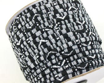 4mm tribal fabric cord in black and white. 5 feet