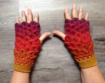 Dragon Scale Fingerless Winter Gloves
