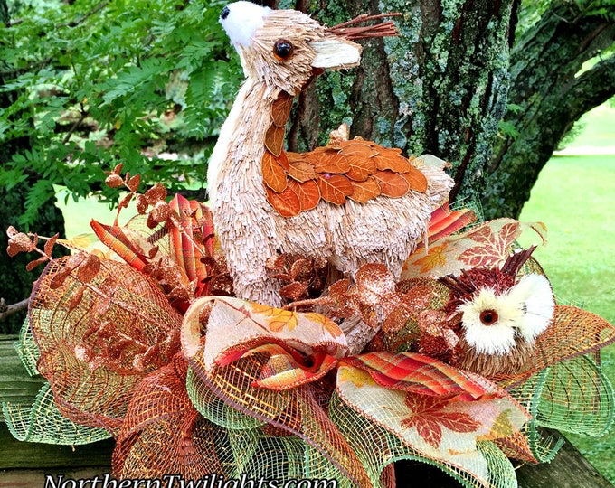 SALE- Fall Leaves Deer Owl - Fall Halloween Thanksgiving Centerpiece