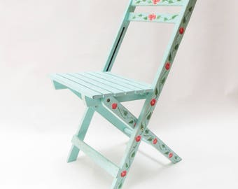 Folding chair hand-painted. Collapsible chair. Mexican chair. hand-crafted.