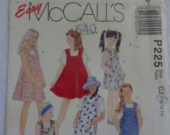 McCalls 225 Easy Sewing Pattern Children's Girls' Jumper, Jumpsuit and Romper, Children's Vintage Pattern, Size 10