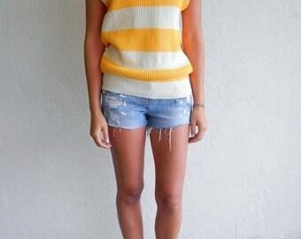 40% SUMMER SALE Vintage Yellow & Beige Striped Knit Top