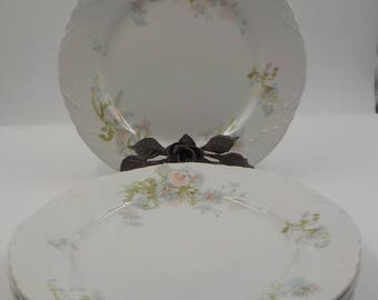 Johnson Bros-Set of 4 -Dessert Plates- Bread and Butter Plates - Porcelain -Vintage-Made in England - Ornate- Floral Pattern