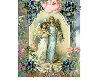 "Victorian Angels Floral Collage Cotton Fabric Quilt Block (1) @ 5X7"" on 8.5X11"" Sheet"