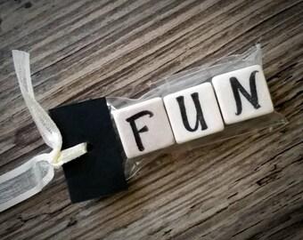 FUN Tumbled Stone miniMagnet Word Strip