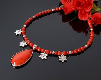 Beauty Gift Wife Red Coral Necklace Silver Red Pendant Necklace Gemstone Red Gift Christmas Gift Mom Birthday Clothing Gift Mother Day Gift