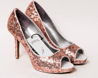 Ready to Ship - WMNS Size 8.5 Rose Gold Sequin High Heels Peep Toe Pumps Shoes
