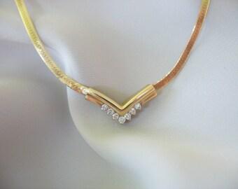 Diamond Chevron Necklace, V Shape, 14k solid yellow gold, Herringbone Chain, Genuine Round Cut Diamonds, 4.9grams, Gift for Her