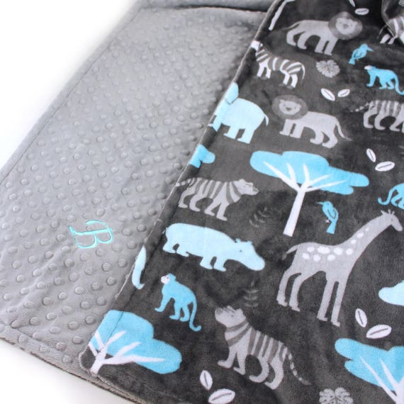 Animal Minky Blanket  Toddler Blanket / Blue Gray Personalized Blanket / Minky Throw Blanket / Zoo Animals Blanket / Kids Minky Blanket