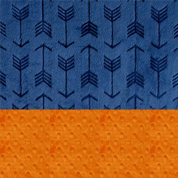 Baby Boy Personalized Baby Blanket, Minky Baby Blanket Embossed Arrow Blanket, Orange Navy Arrow Baby Blanket, Baby Shower Gift Name Blanket