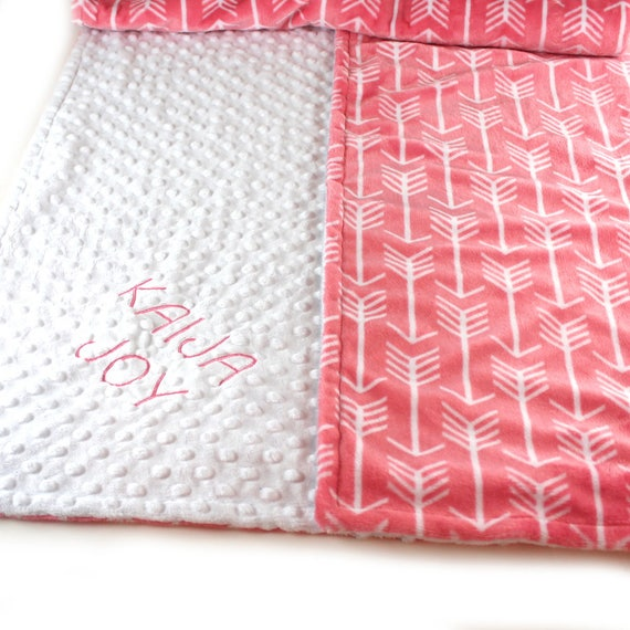 Arrow Blanket, Crib Minky Blanket Girl, 42 x 55 Coral Arrow Personalized Baby Blanket, White Coral Baby Blanket, Custom Blanket, Kids Minky
