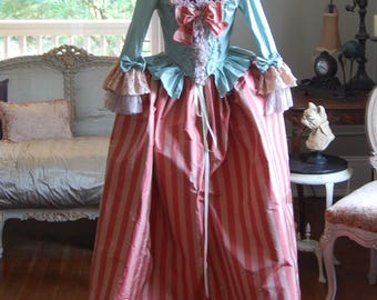 Striped silk Marie Antoinette Victorian inspired rococo costume dress halloween night circus