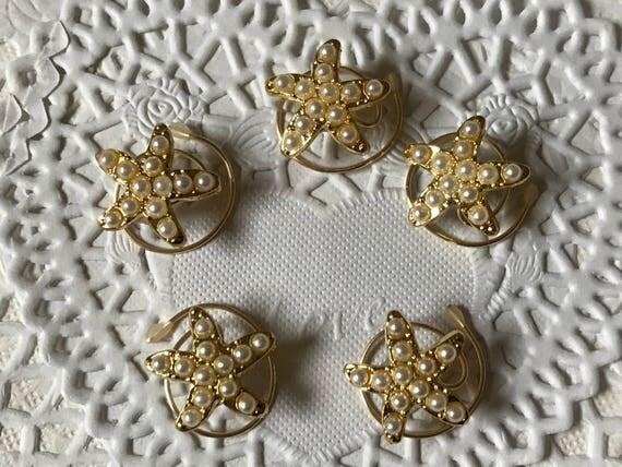 5 Starfish Hair Spins Beach Wedding Mermaid Hair Twists Coils Spirals Gold Tone and Pearls Destination Wedding