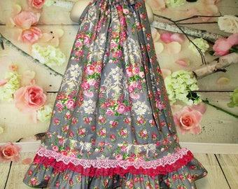 Girls Dress 6/7 Gray Pink Floral Pillowcase Dress, Sundress, Pillow Case Dress, Boutique Dress