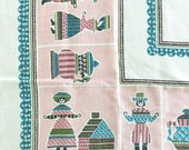 Vintage Tablecloth Pink Blue Card Table Linen Square Table Cloth Folk Art Rooster Chicken