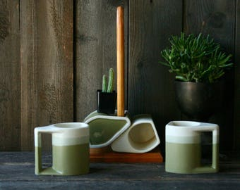 Set of 4 Mugs and Holder Green and White Vintage From Nowvintage on Etsy