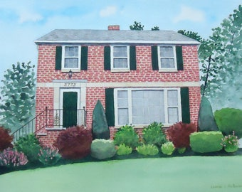 Portrait  Painting of your home, house, cabin, cottage or condo ORIGINAL ART in Watercolor 11 x 14 including mat