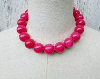 XMAS in JULY SALE Chunky Hot Pink Beaded necklace, Fuschia Beads Choker, Big Pink 20 mm  Beads