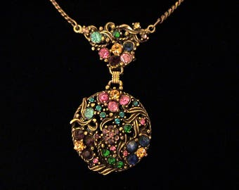 Vintage HOLLYCRAFT Unsigned Multi Color Rhinestone Lavalier Necklace