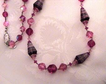 Vintage VENDOME Pink & Black Striped Crystal Necklace
