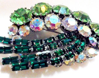 Made in Austria, Green and AB Prong Set Rhinestone Pin Brooch