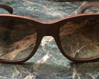 Authentic Gold & Wood Wayfarer Hazelnut Eyeglasses Sunglasses B15.2