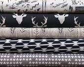 Navy Gray Bundle, Grey Fabric Bundle, Woodland Fabrics, Baby Boy, Stag, Arrows, Tomahawk, Woodland, Deer, Birds, Leaves, Modern, Native