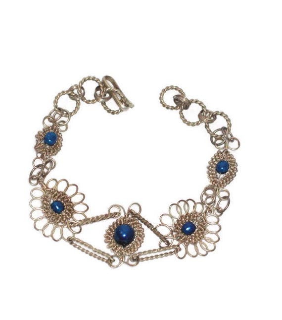 Silver Filigree Bracelet Bright Blue Beads Vintage