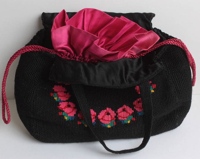 Black Woven Fabric Handbag Embroidered Red Roses Red Satin Lining Boho Vintage