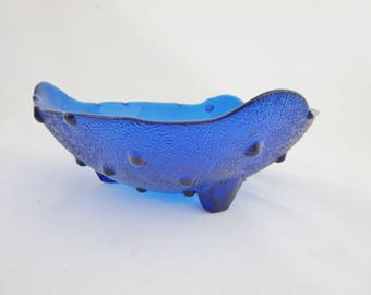 Vintage Cobalt Blue Bowl -  Footed Bowl With Raised Dots - Cobalt Blue Hobnail Fenton Glass Console, Fruit or Centerpiece  Bowl