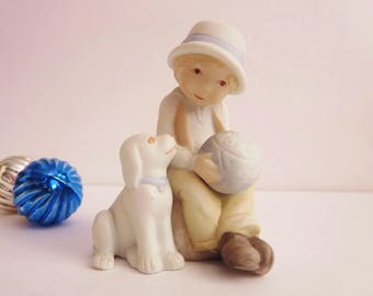 Vintage Holly Hobbie Boy With Dog and Ball Figurine - Bisque Ceramic Holly Hobbie Boy Figurine