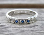 Blue Sapphire & Diamond Scroll Wedding Band in 18K White Gold - RESERVED for Ed