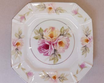 Pink and Yellow Hand Painted Roses on a Porcelain Square Plate - one only