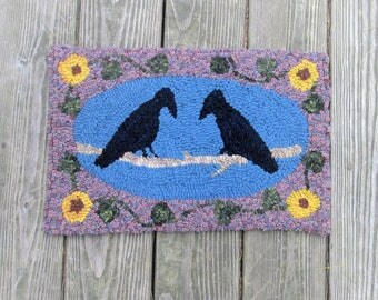 Two Chatty Crows Primitive Rug Hooking Pattern or Complete Kit by Sharon Perry