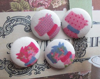 Lovely Pink and Blue Shabby Chic Rose Floral Dots Cath Kidston Schnauzer Puppy Dogs-Handmade Fabric Covered Buttons(0.87 Inches, 4PCS)