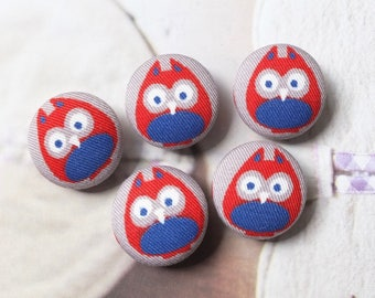 Geometry Geometric Blue Red Big Eye Hoot Owls On Gray - Handmade Fabric Covered Buttons(0.75 Inches, 5PCS)