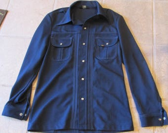 Vintage 70's mens Lee leisure suit jacket blue fitted sz S-M USA hipster