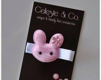 SUMMER SALE Baby Hair Bow - Infant Hair Bows - Toddler Hair Clips - Pink Bunny Hair Clip - Alligator Clip