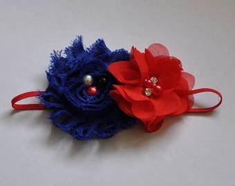 sale Patriotic Headband Red and Blue Headband Infant Girls Headband Toddler Headband Red White and Blue Headband 4th of July Headband Americ