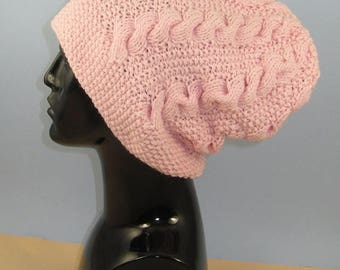 40% OFF SALE Instant Digital File pdf download Knitting pattern- Chunky Cable Slouch Hat pdf download knitting pattern