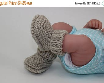 40% OFF SALE Instant Digital File PDF Download - Baby Simple Rib Cuff  Booties knitting pattern