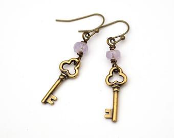 Purple key charm earrings, amethyst beads, antiqued brass